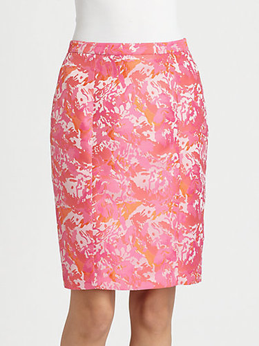 Pink Tartan Jacquard Pencil Skirt