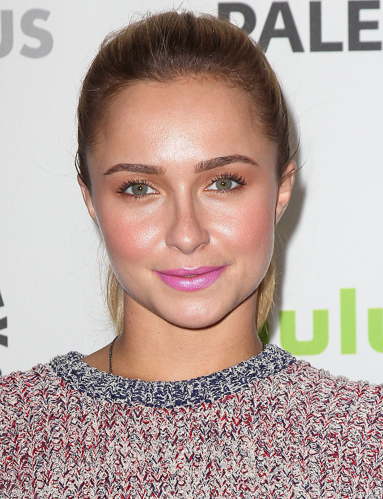 When it comes to wearing multiple pastels together, look to Hayden Panettiere for inspiration. Start with a golden peach shadow all over your lids, followed by coral blush and a bright pink lip color for a get-noticed effect.