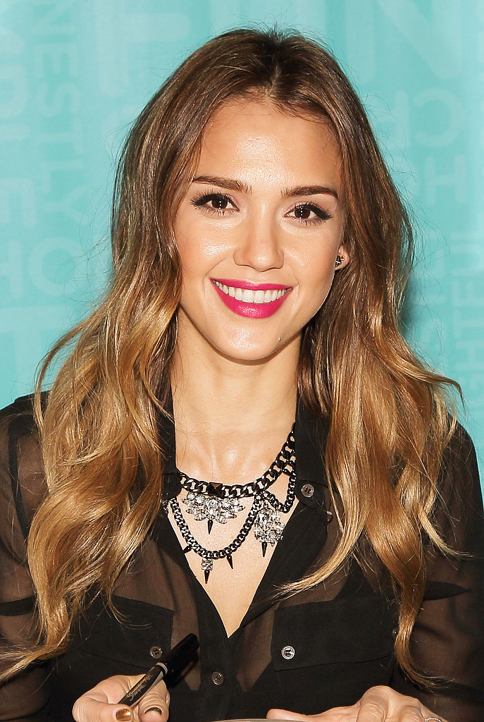 The easiest way to amp up your everyday look? Apply a bold lip color à la Jessica Alba. Check out our bold Spring lip color trends for more inspiration.