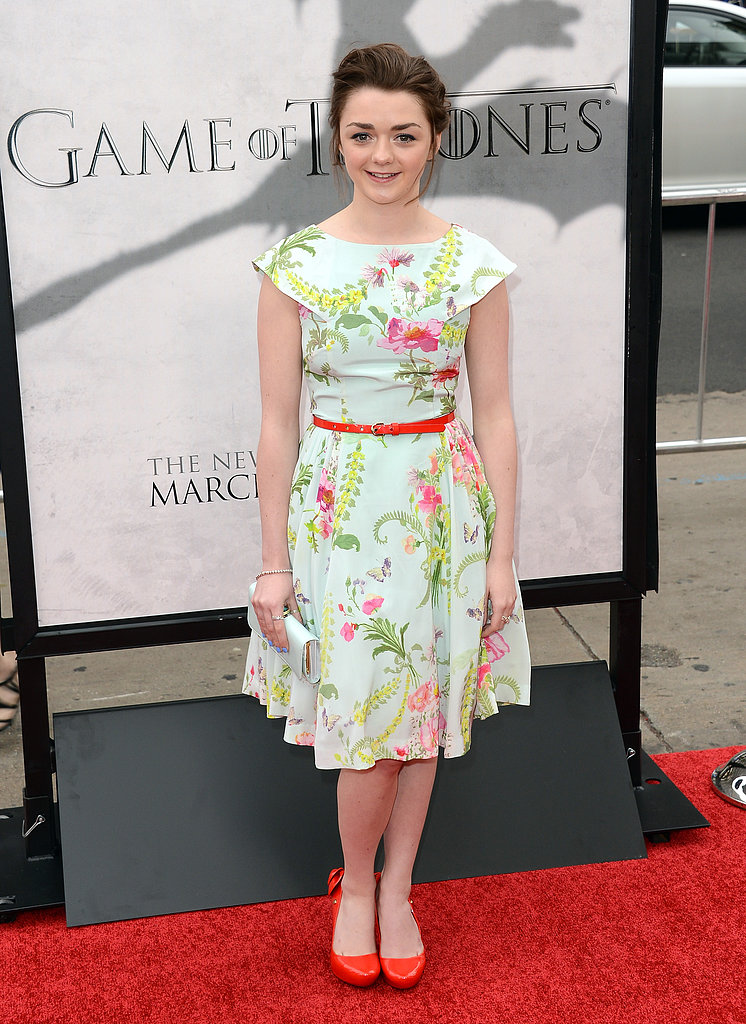 Maisie Williams wore a floral frock.