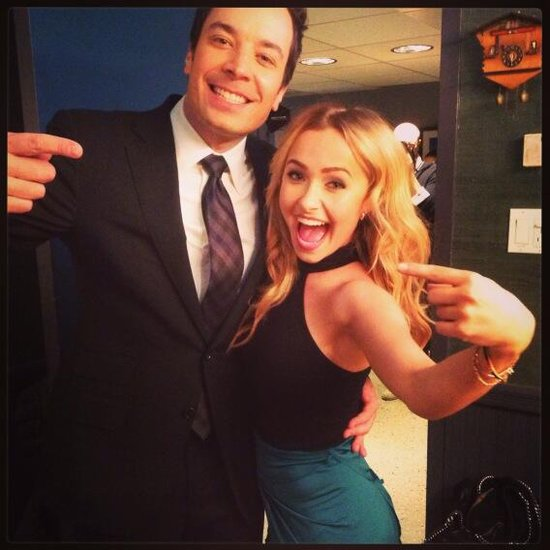 Hayden Panettiere caught up with Jimmy Fallon backstage at his show. Source: Twitter user haydenpanettier