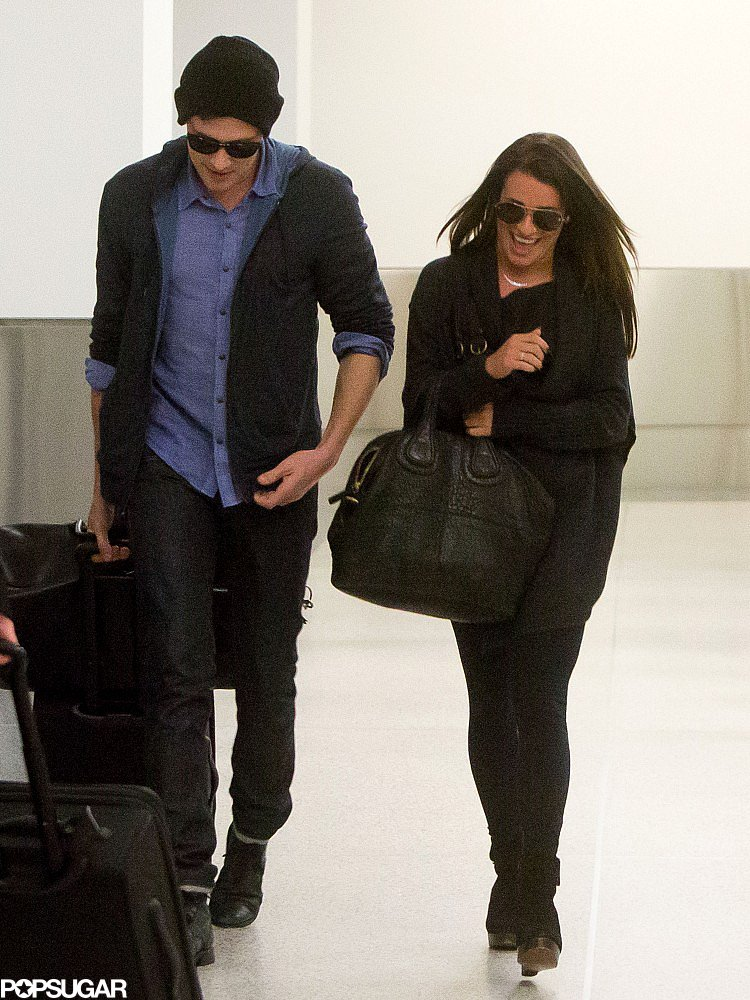 Lea Michele and Cory Monteith touched down at LAX together.