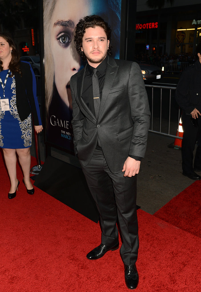Kit Harington wore a black ensemble.