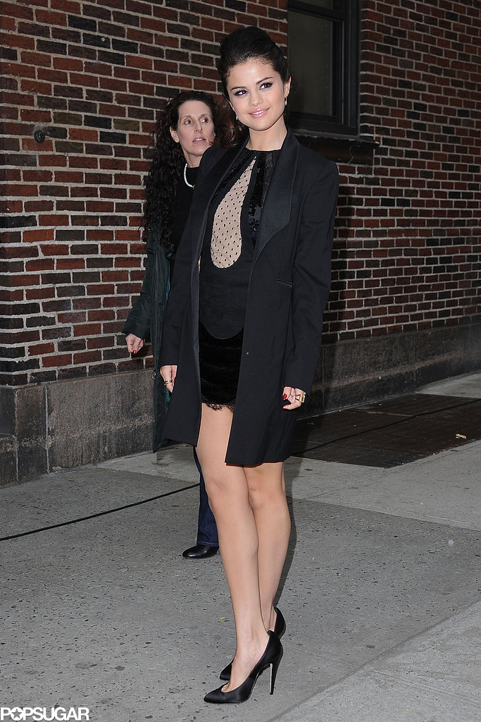 Selena Gomez arrived at the Late Show.