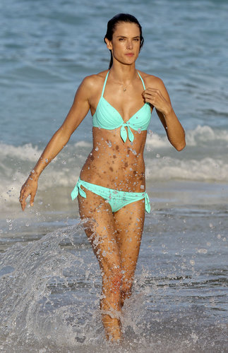 Alessandra Ambrosio splashed around in a turquoise bikini in St. Barts in January.