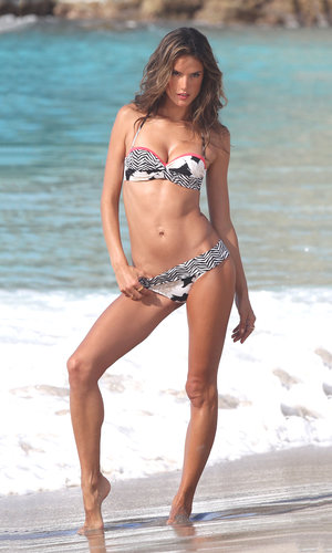 On a Victoria's Secret photo shoot in St. Barts in January, Alessandra Ambrosio put her slim figure — and a printed bikini — on full display.