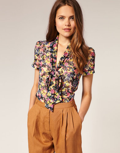 ASOS Blurred Floral Pussybow Blouse