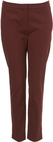 Oxblood Formal Capri Skinny Cigarette Trousers