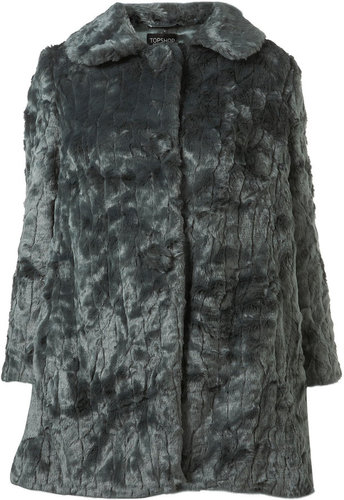 Long Faux Fur Textured Coat