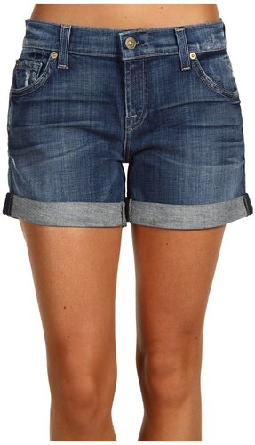 7 For All Mankind - Relaxed Mid Roll-Up Short in Grinded Medium Blue (Grinded Medium Blue) - Apparel