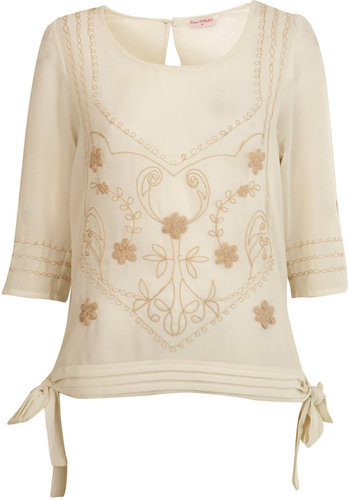 Cream embroidered tie side top
