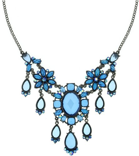 2028 Necklace, Blue Crystal Statement Necklace