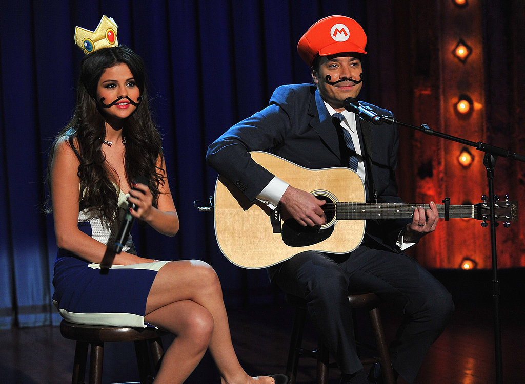 Watch Selena Gomez Sport a Moustache For a Silly Duet With Jimmy Fallon