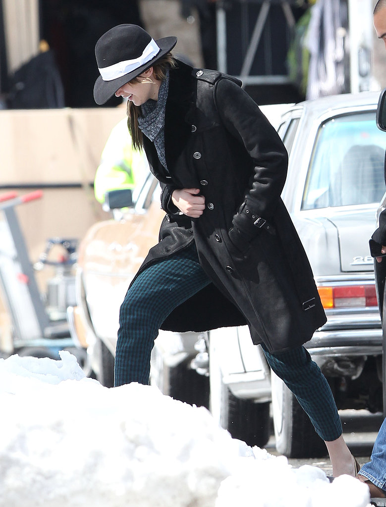 Jennifer Lawrence hit her snowy set in Boston.