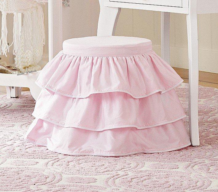 Pottery Barn Kids Pink Ruffle Stool and Cushion Set