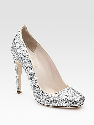 Aizza Glitter-Coated Leather Pumps