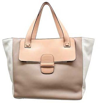 """Marc Jacobs """"C3123011"""" Taupe Colorblock Leather Large Tote"""