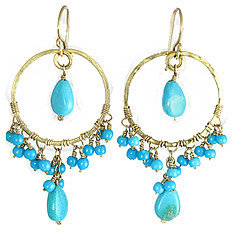 Calico Juno Hammered Turquoise Earrings