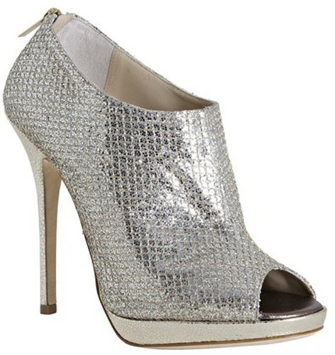 Jimmy Choo champagne glitter fabric &#039;Glint&#039; peep toe ankle booties