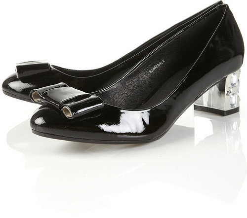JUPITER Black Patent Gem Heel Bow Pumps
