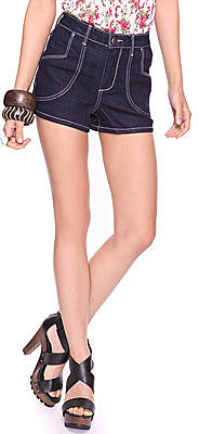 Forever 21 Contrast Stitch High Waist Denim Short