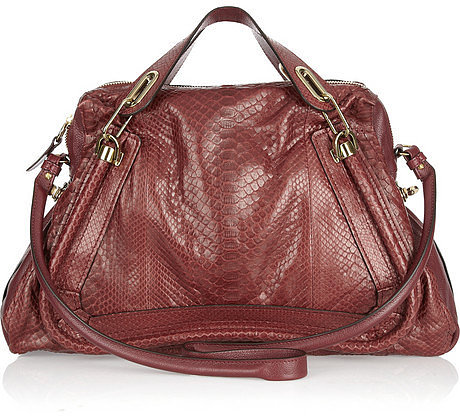 Chlo Paraty Large python and leather bag