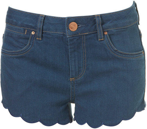 MOTO Blue Scalloped Hotpants