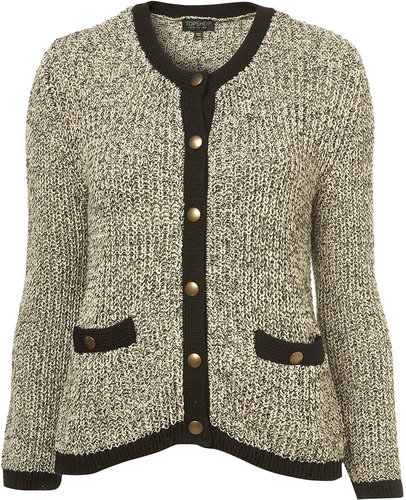 Knitted Tweed Tipped Jacket