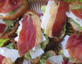 Crisped Proscuitto and Avocado Crostini