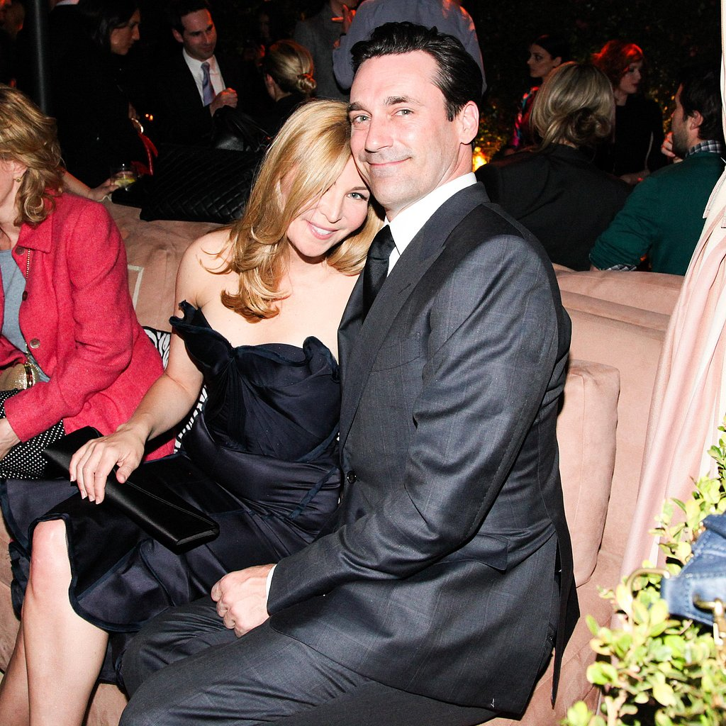 Jon Hamm cuddled with Jessica Westfeldt. Source: Aleks Kocev /BFAnyc.com