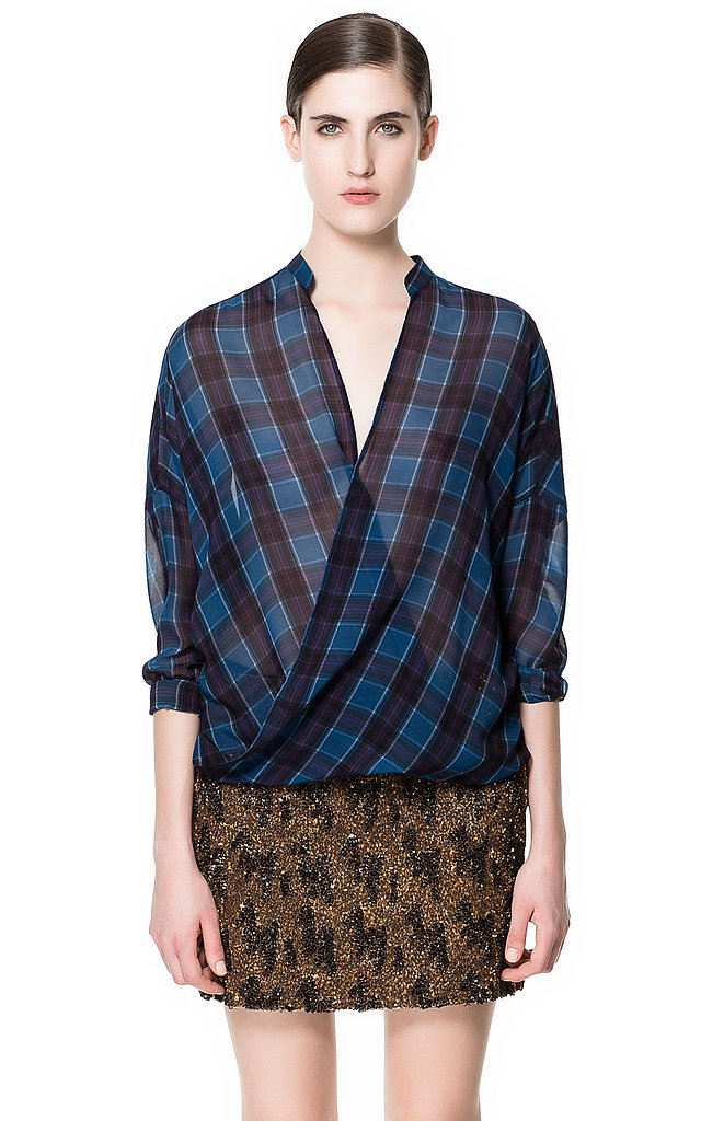Zara's checked crossover shirt ($80) will get you one step closer to channeling the Dries Van Noten Spring '13 look.