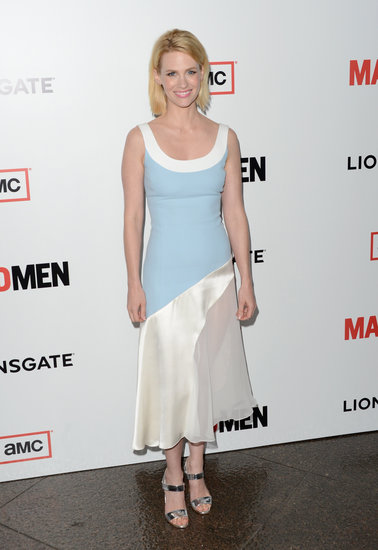 January Jones slipped into a pastel and creamy colorblocked Jonathan Saunders dress and metallic Christian Louboutin sandals.