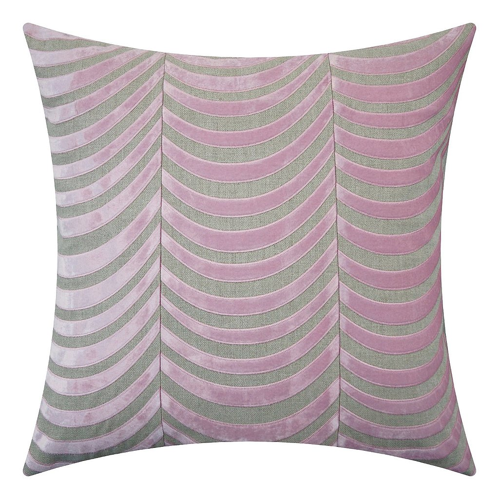 Embroidered velvet in a rich lilac shade adds a sophisticated touch to this patterned pillow ($278).