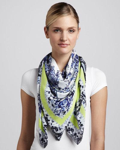 Erdem Milandes Snake & Floral Scarf, Blue/Yellow