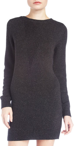 T by Alexander Wang Silk-Blend Knit Sweater Dress, Charcoal