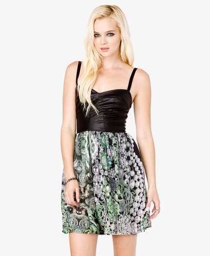FOREVER 21 Faux Leather Scarf Print Dress