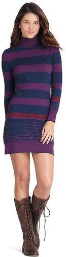 Cotton and Wool Stripe Turtleneck Dress