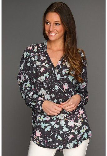 Rebecca Taylor - December Floral Print Blouse (Grey Combo) - Apparel