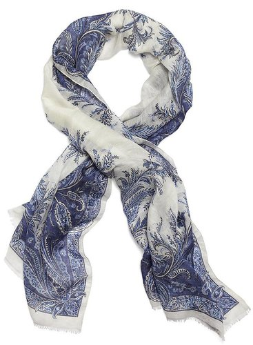 Silk Paisley Floral Oblong Scarf