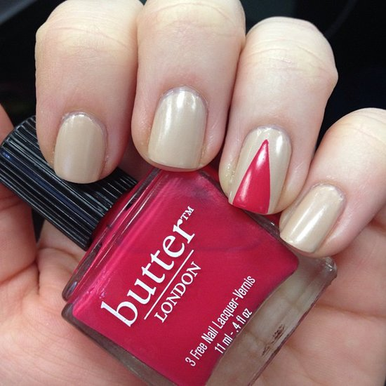 A triangular manicure is a top trend for Fall, so why not test-drive your technique a little early with Spring hues? Source: Instagram user twog00