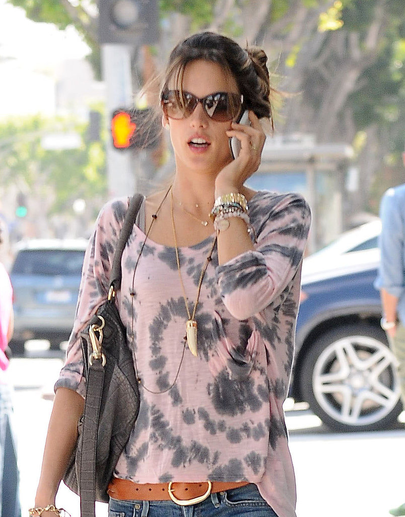 Alessandra Ambrosio sported a pair of shades.