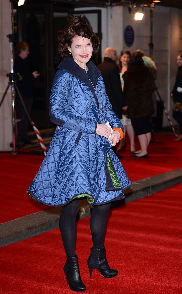 Elizabeth McGovern donned a blue coat.