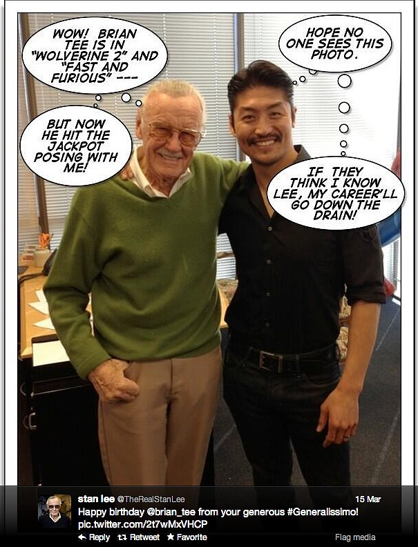 Stan Lee, legendary comic book writer and former president of Marvel, gets comical with Brian Tee.