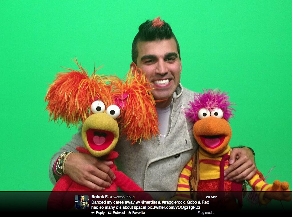 Curiosity rover flight director Bobak Ferdowsi hangs out with the Fraggle Rock crew.