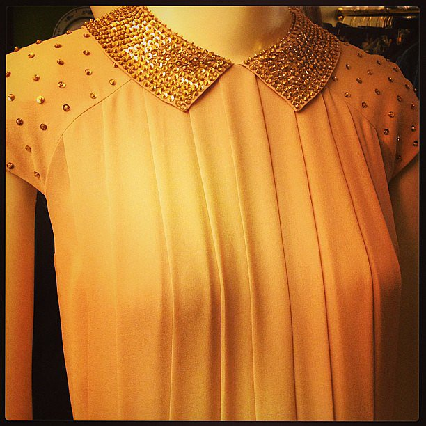 A detail of our favorite gown from the Tory Burch preview.