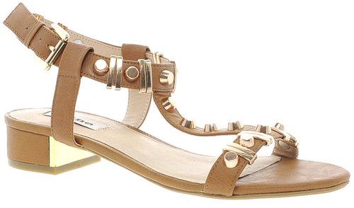 Dune Funkie Tan Mid Heeled Sandals