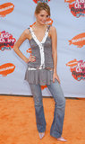 Mischa Barton topped her flared jeans with a ruched and ruffled tunic in 2004.