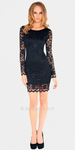 Black Long Sleeved Lace Mini Dresses by Sentimental NY