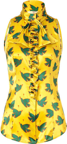LWren Scott Chartreuse/Green Bird Printed Silk Top with Ruffle