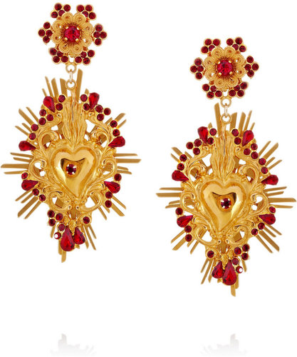 Dolce & Gabbana Gold-tone Swarovski crystal clip earrings